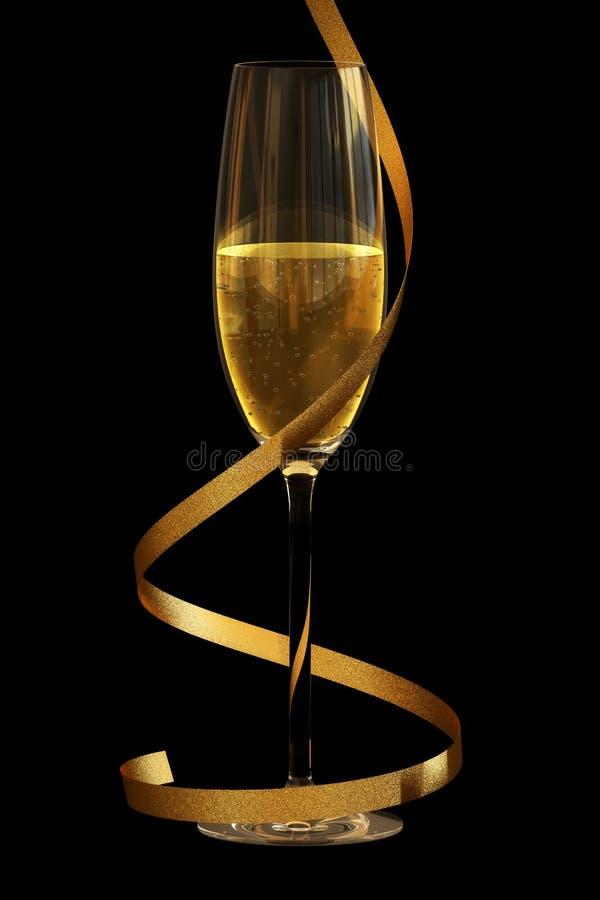Champagne op Zwarte royalty-vrije stock fotografie