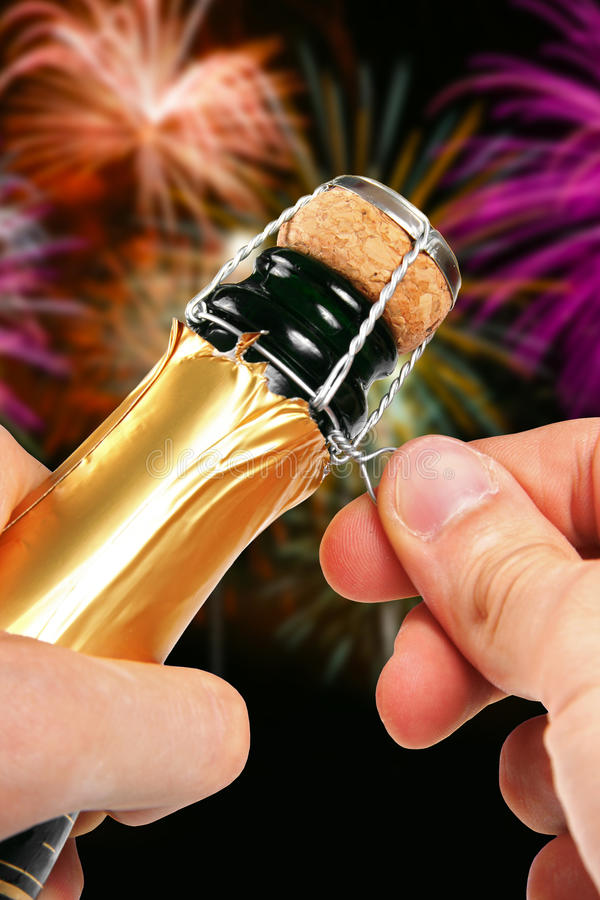 Champagne Opening Stock Images