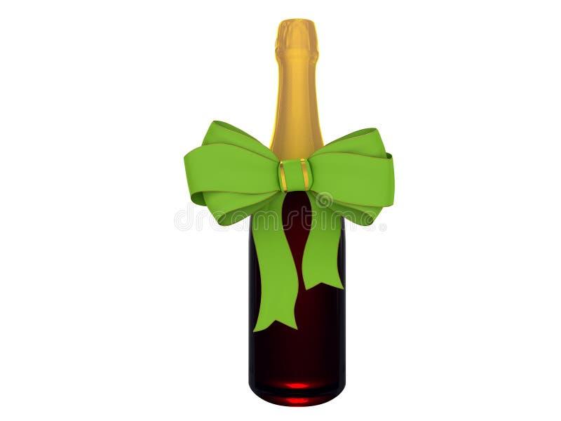 Champagne ou frasco de vinho com curva ilustração stock