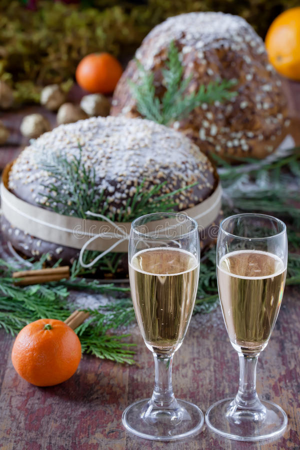 Champagne And Panettone fotografie stock