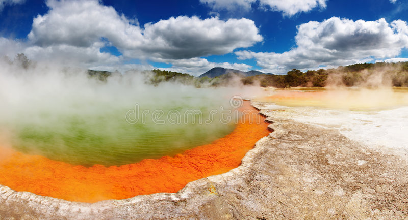 Champagne Pool, hot thermal spring, New Zealand stock photo