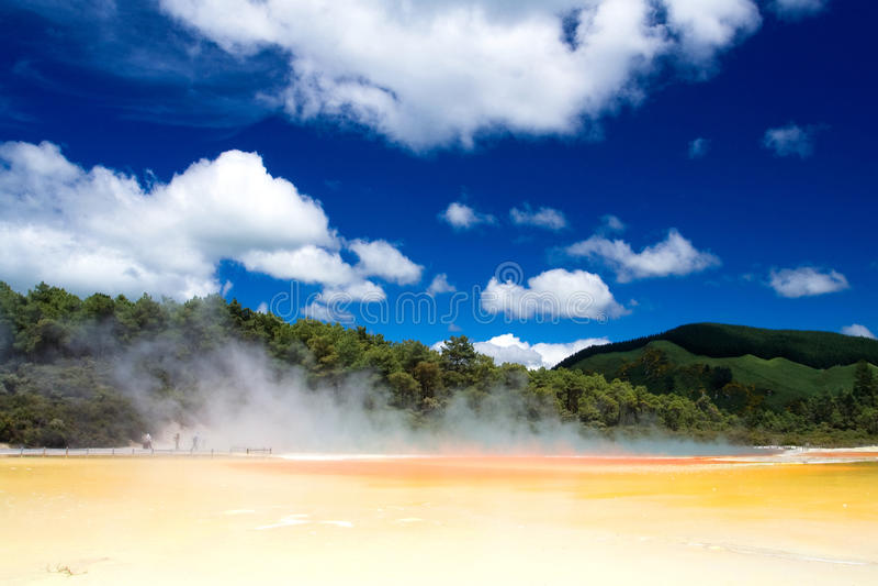 Champagne Pool in Wai-O-Tapu Geothermal Wonderland stock images