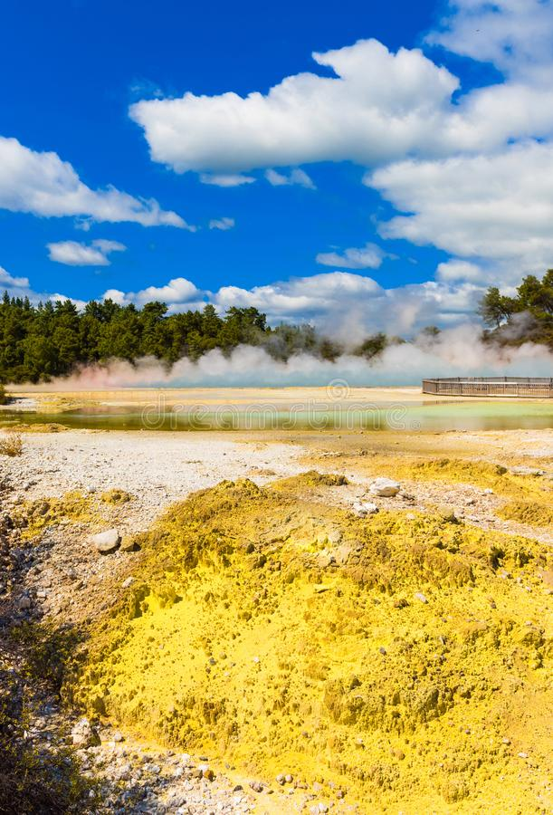Champagne Pool in Wai-O-Tapu park, Rotorua, New Zealand. Vertical royalty free stock images