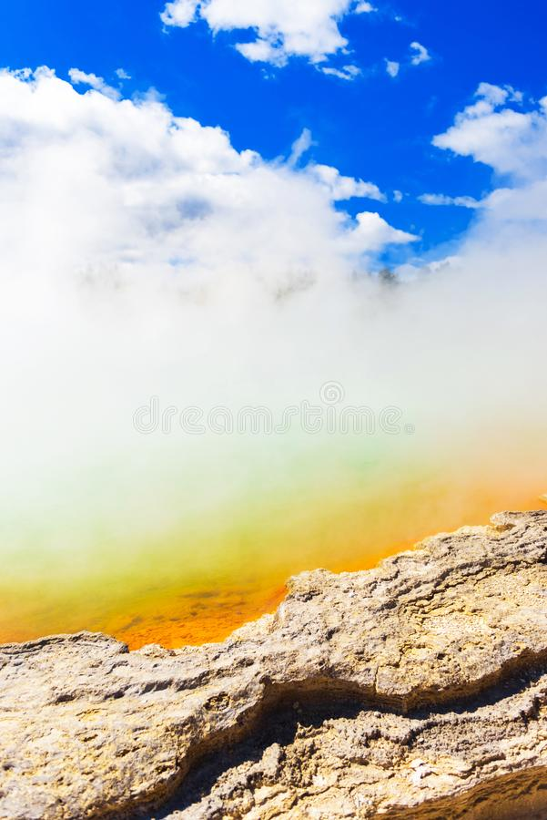 Champagne Pool in Wai-O-Tapu park, Rotorua, New Zealand. Vertical stock photography