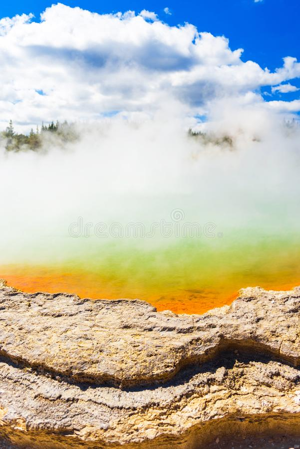 Champagne Pool in Wai-O-Tapu park, Rotorua, New Zealand. Vertical stock images