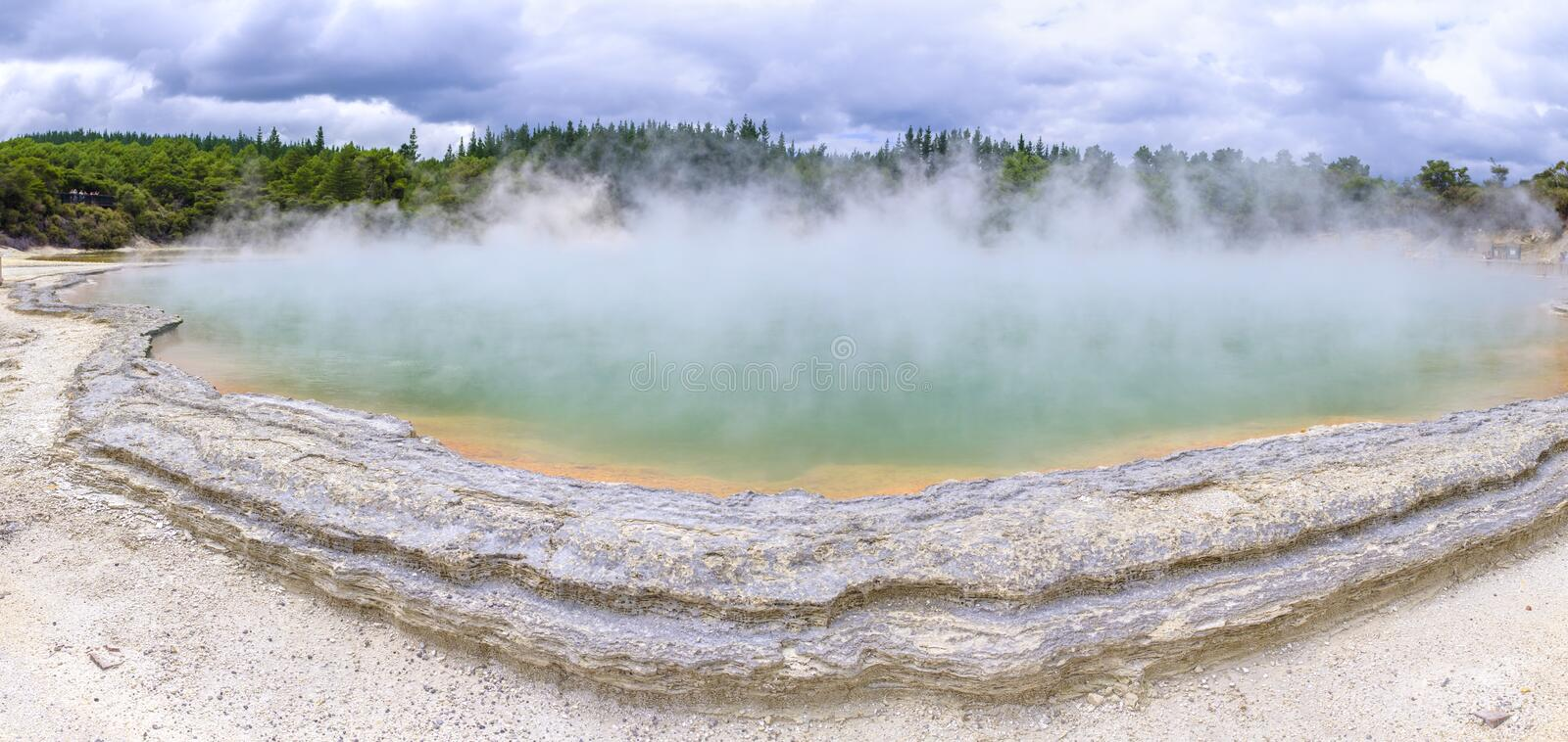 Champagne Pool in Waiotapu Thermal Wonderland. Panorama view of the famous Champagne Pool at the Waiotapu Thermal Wonderland park in New Zealand stock photos