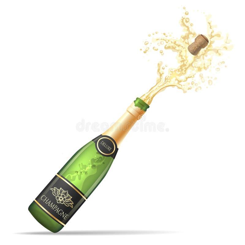 Champagne-pop de fles en bruist royalty-vrije illustratie