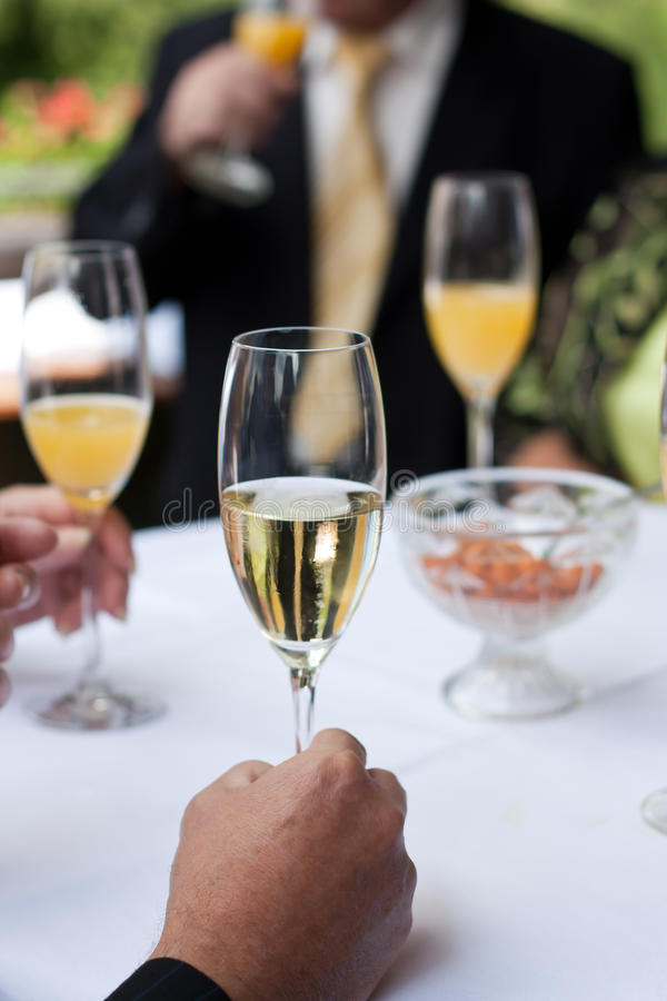 Champagne reception stock photos
