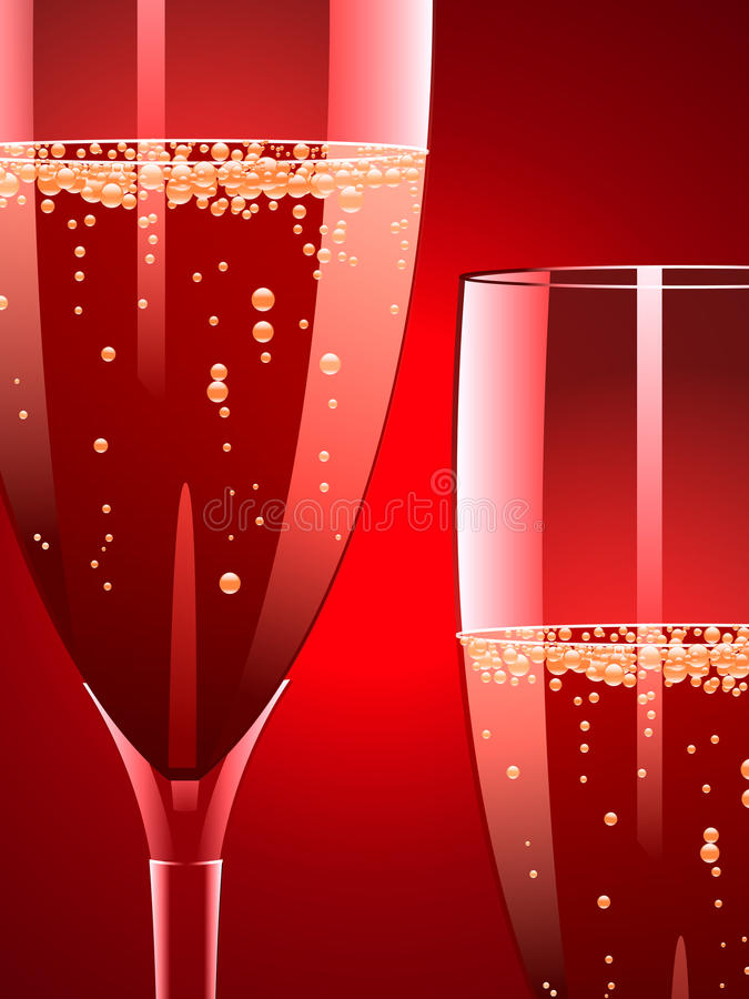 Champagne on red royalty free illustration