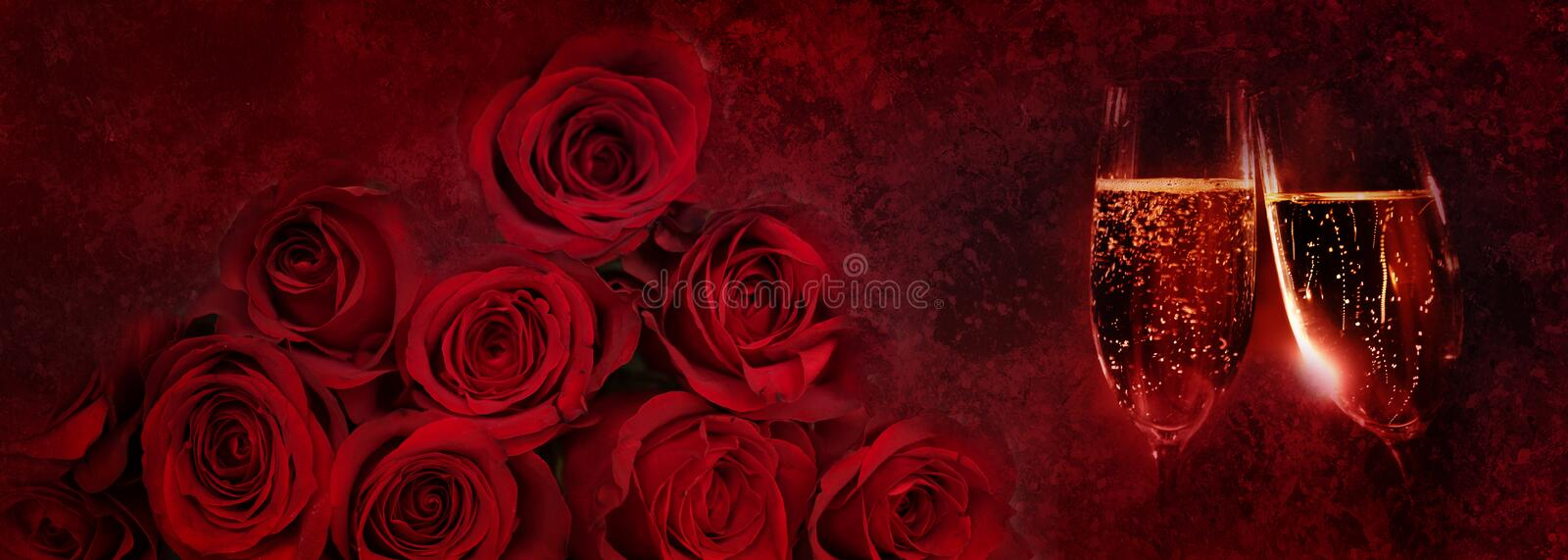 Champagne and red roses royalty free stock photo