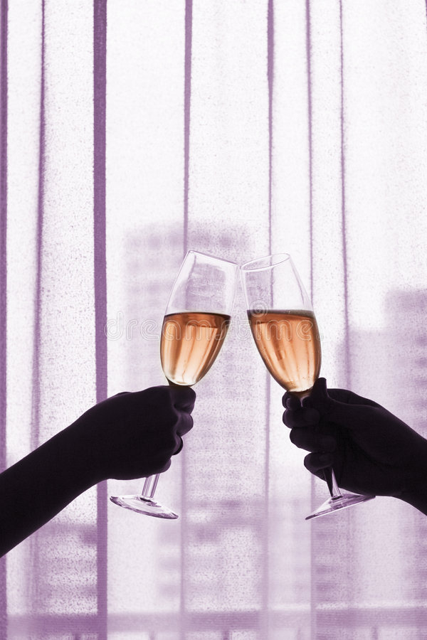 Champagne (Red Wine) Toast royalty free stock image