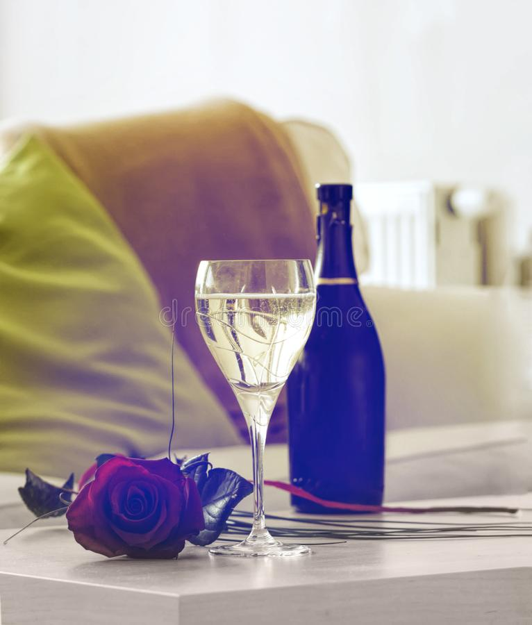Champagne and rose. Symbolizing a romantic evening stock images