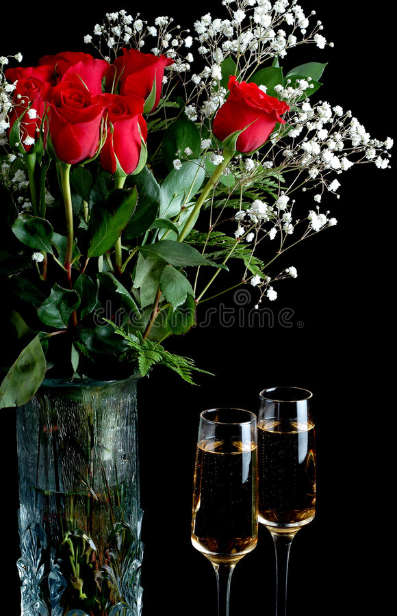 Champagne and Roses royalty free stock photo