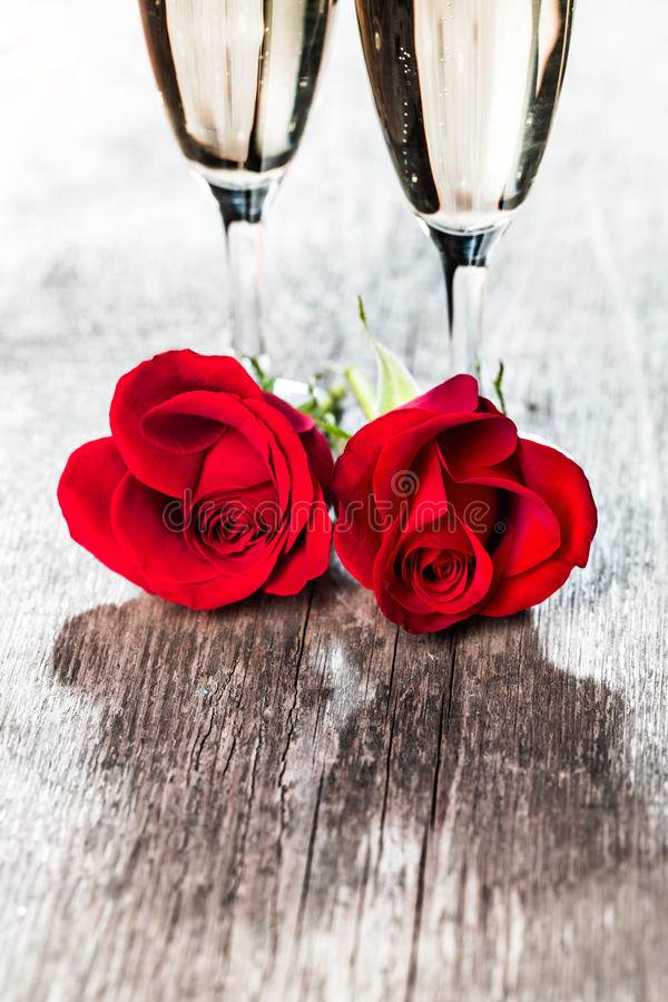 Champagne and roses stock image