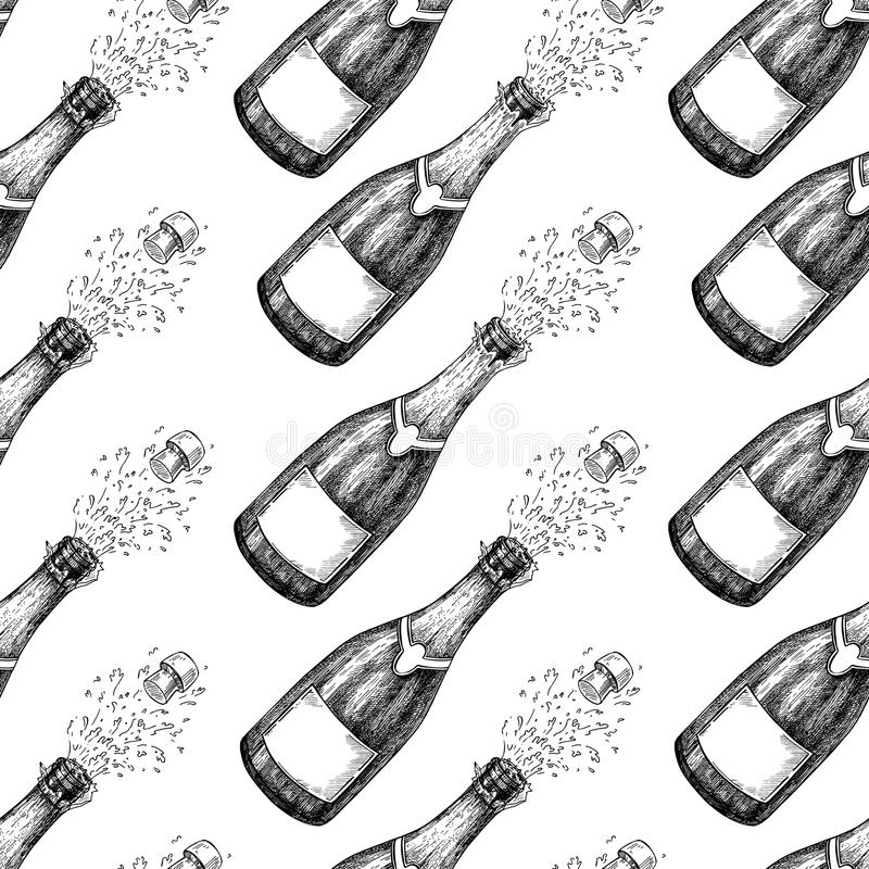 Champagne seamless pattern. Bottle explosion. Hand drawn isolated vector. Illustration. Alcohol drink splash with bublles. Vintage sketch. Beverage drawing Bar royalty free illustration