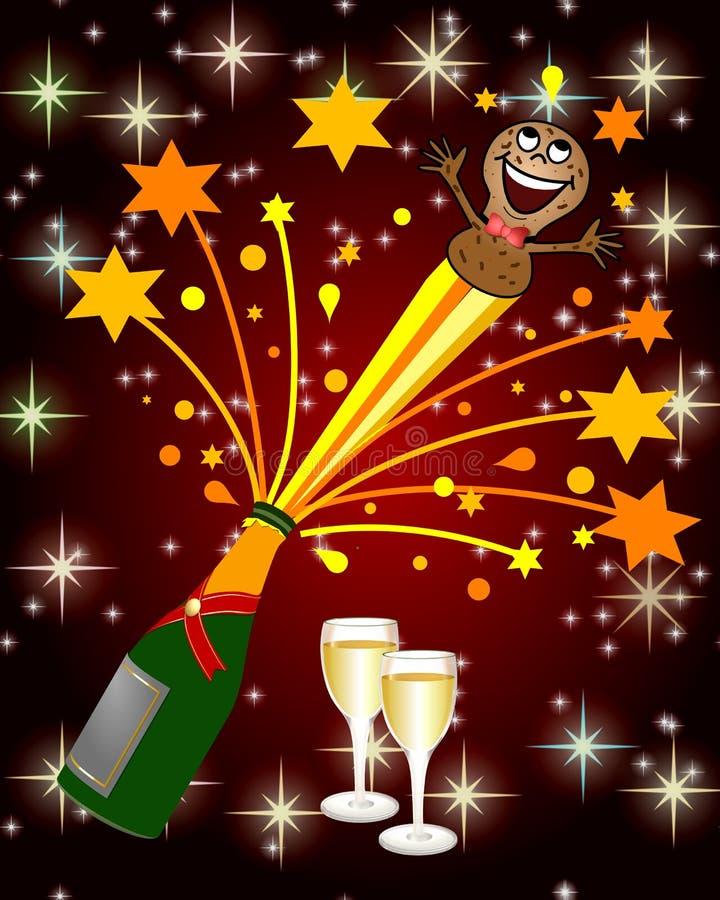 champagne som exploderar stock illustrationer