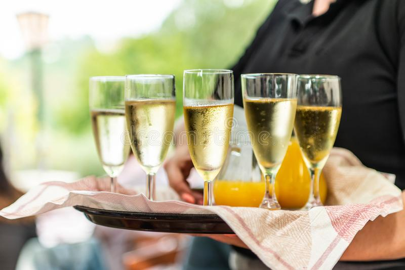 Champagne or sparkling wine in glasses in restaurant served by servant royalty free stock photos