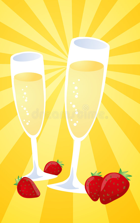 Download Champagne and strawberries stock vector. Illustration of glasses - 6232199