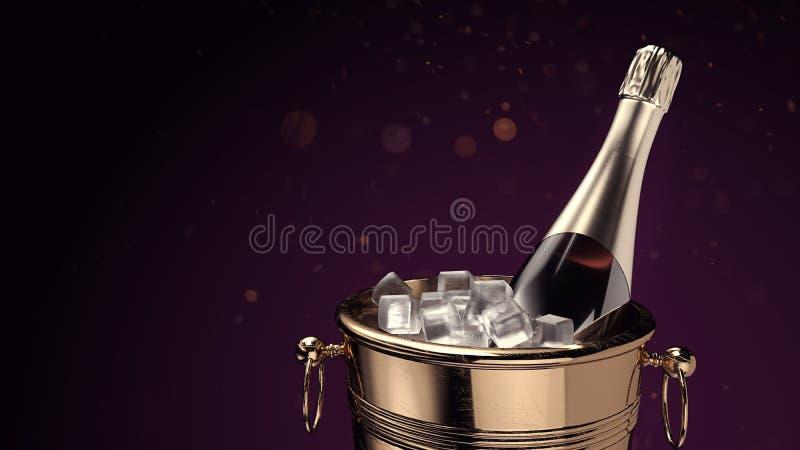 Champagne sul secchiello del ghiaccio fotografie stock