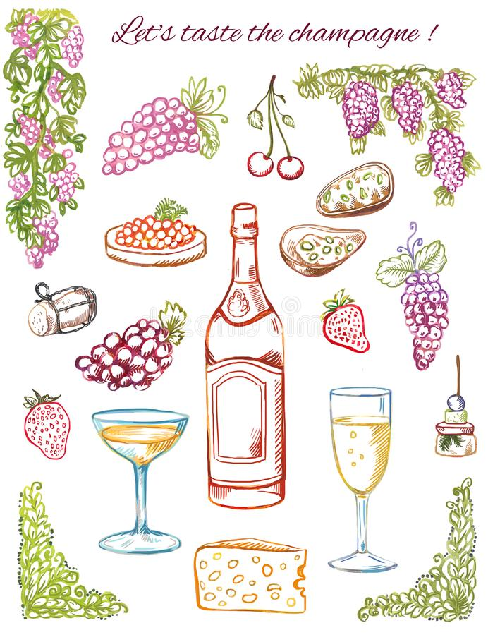 Champagne tasting. Hand-drawn coloring sketches, doodles isolated on white. Vintage grapes, bottle, snacks, wine glasses. Coloring wine or shampagne doodles royalty free illustration
