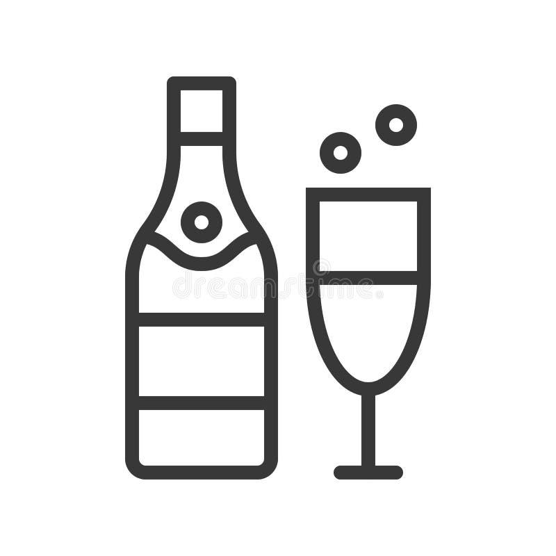 Champagne temauppsättning för glad jul, redigerbar slaglängdpi för översikt stock illustrationer