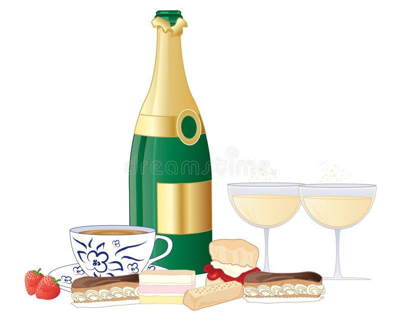 Champagne-thee met verse cakes op een witte achtergrond stock illustratie