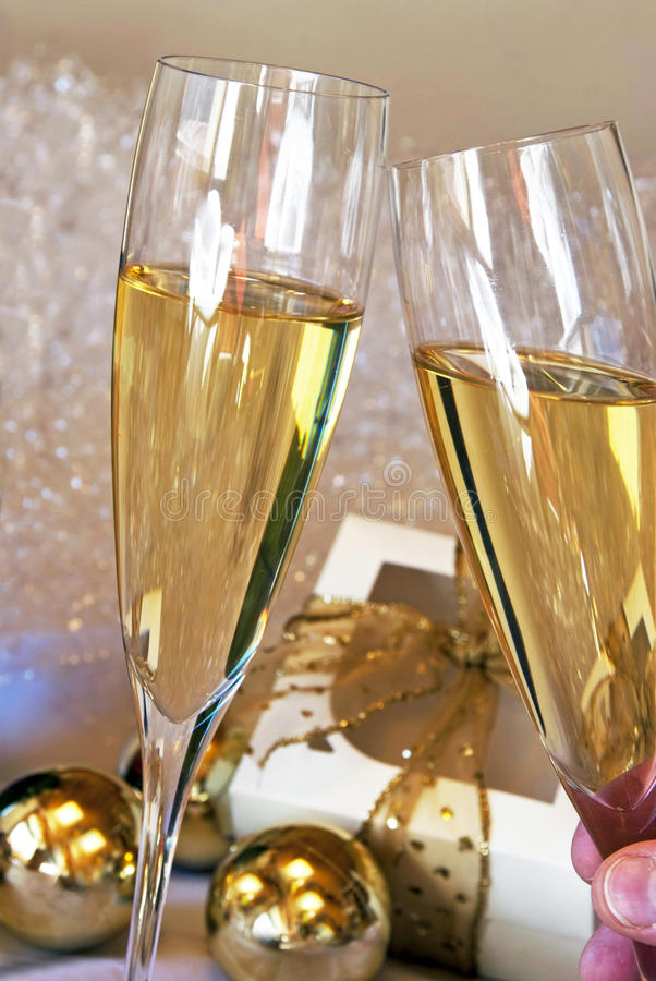 Champagne toast. On at a party - New year concept royalty free stock photography