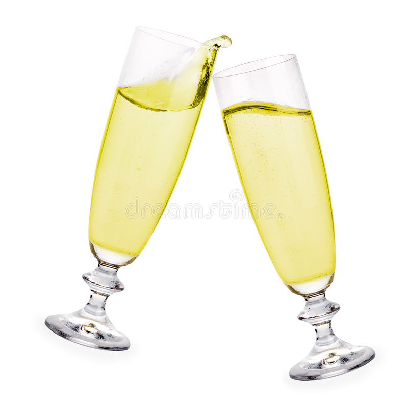 Champagne toast. Pair of champagne flutes making a toast to celebrate a very special day stock photos
