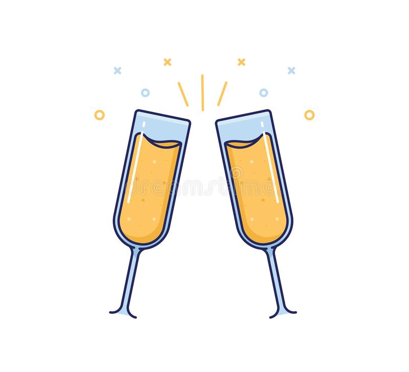 Champagne toast cheers icon. Vector party illustration design. Thin flat outline trendy drink design royalty free illustration