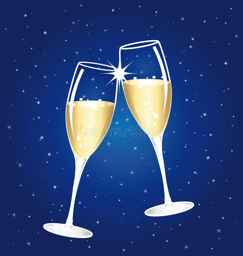 Free Champagne Toast Cups. Blue Starry Night. Royalty Free Stock Images - 44279009