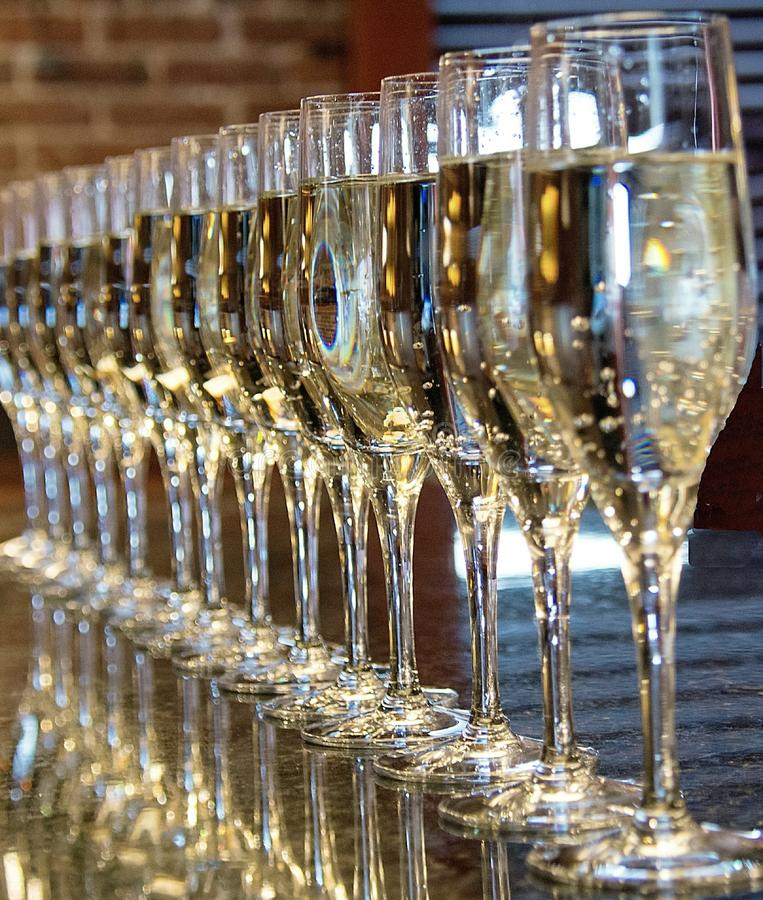 Champagne Toast. Champagne, toast, party during happyhour at a bar stock images