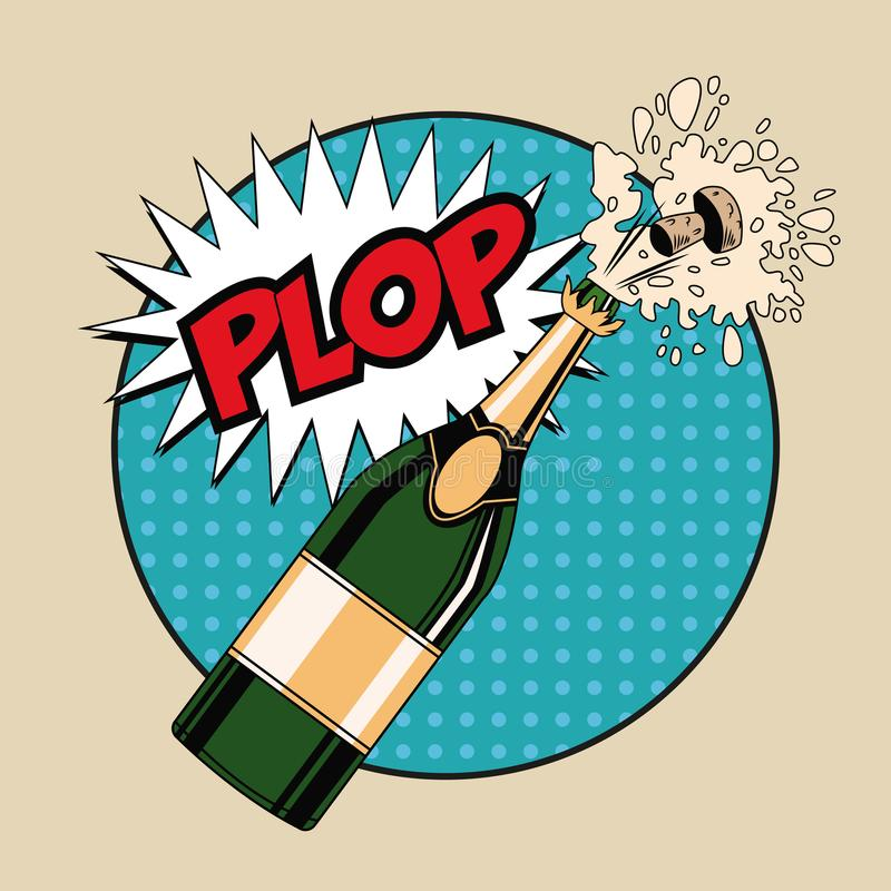 Champagne toast pop art vector illustration