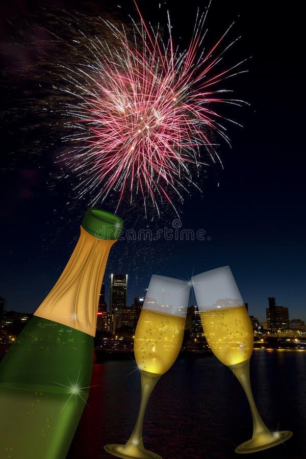 Download Champagne Toast With Portland Oregon Skyline Stock Illustration - Illustration: 22393829