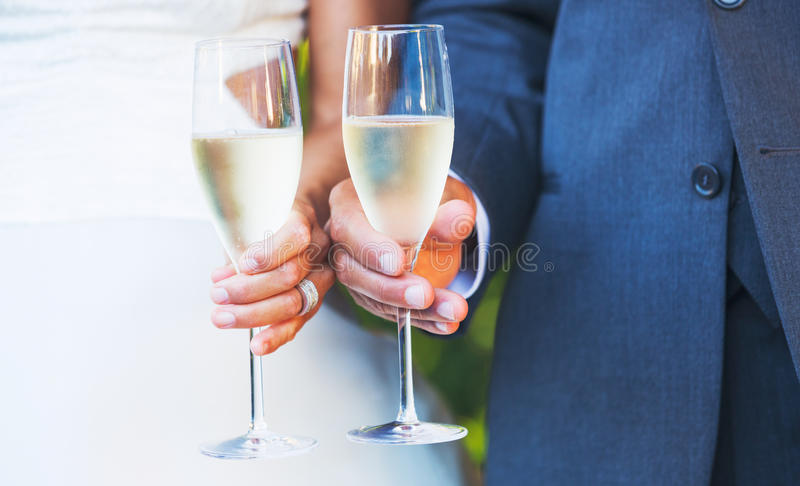 Champagne Toast. Wedding Champagne Toast bride and groom royalty free stock image