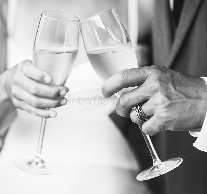 Champagne Toast. Wedding Champagne Toast bride and groom royalty free stock photo