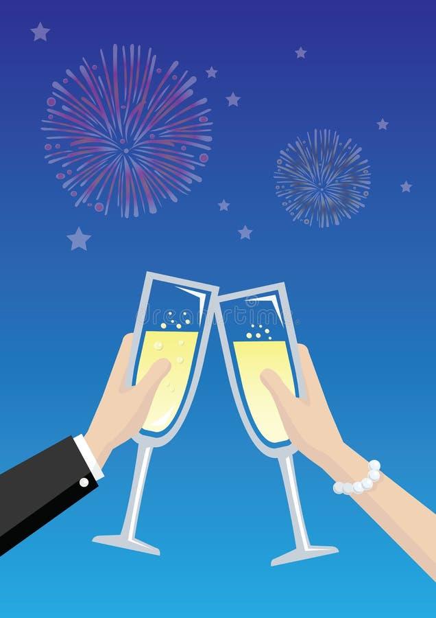 Champagne Toasting Vector Illustration ilustración del vector