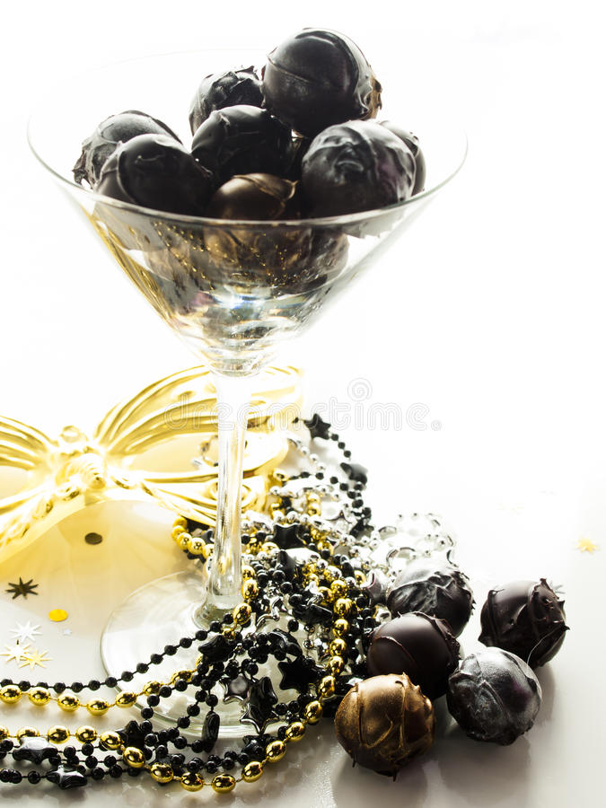 Champagne truffles. Gourmet champagne truffles derorated for New Year Eve celebration stock photography