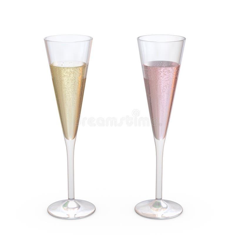 Champagne Trumpet Flutes Glasses ha messo con liquido, percorso di ritaglio immagine stock