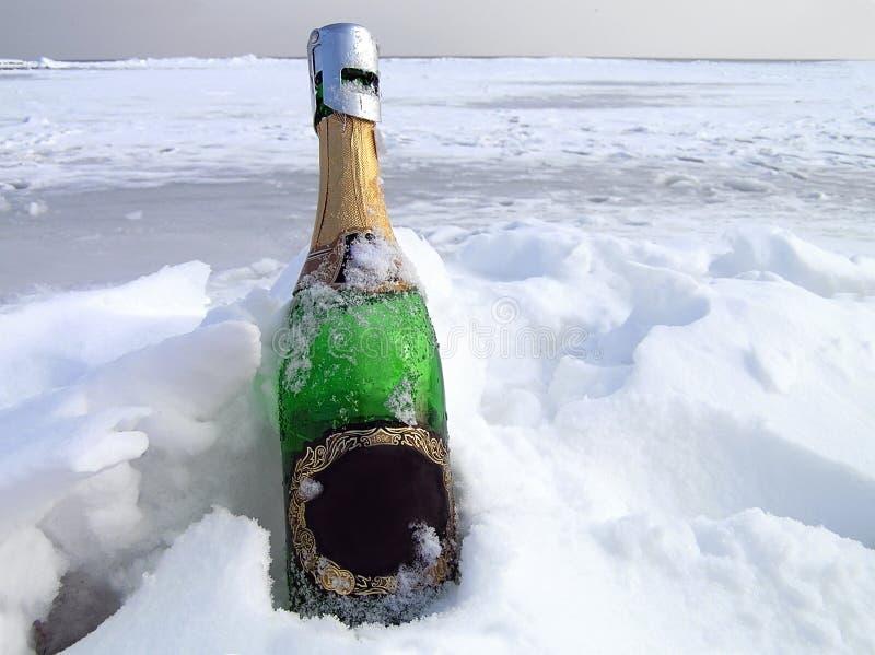 Champagne in una neve immagini stock libere da diritti