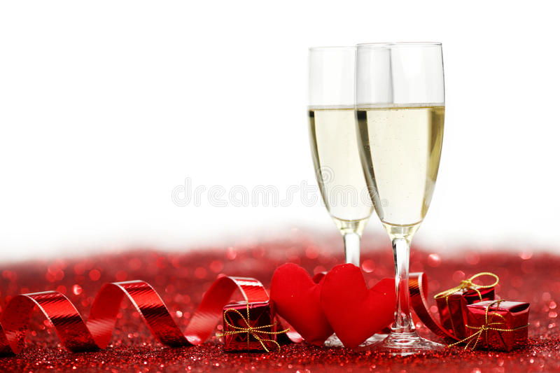 Champagne and valentines day decoration royalty free stock for B day decoration