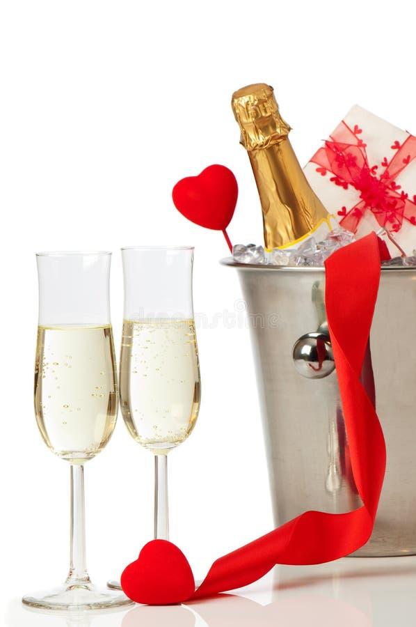 Champagne-Valentinsgruß lizenzfreies stockfoto