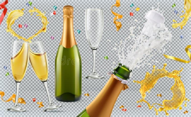 Champagne Vidros, garrafa, respingo jogo do ícone 3d ilustração royalty free