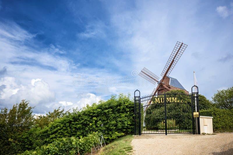 Champagne Vignoble et moulin à vent Champagne Region près des Frances de Vernezay image libre de droits