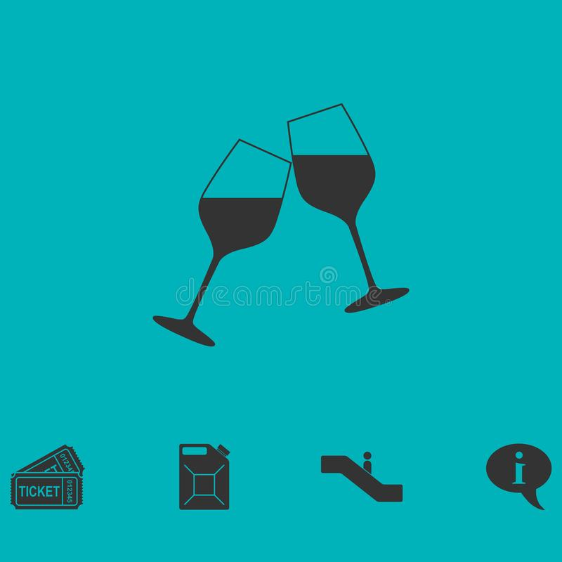 Champagne-vlak pictogram stock illustratie