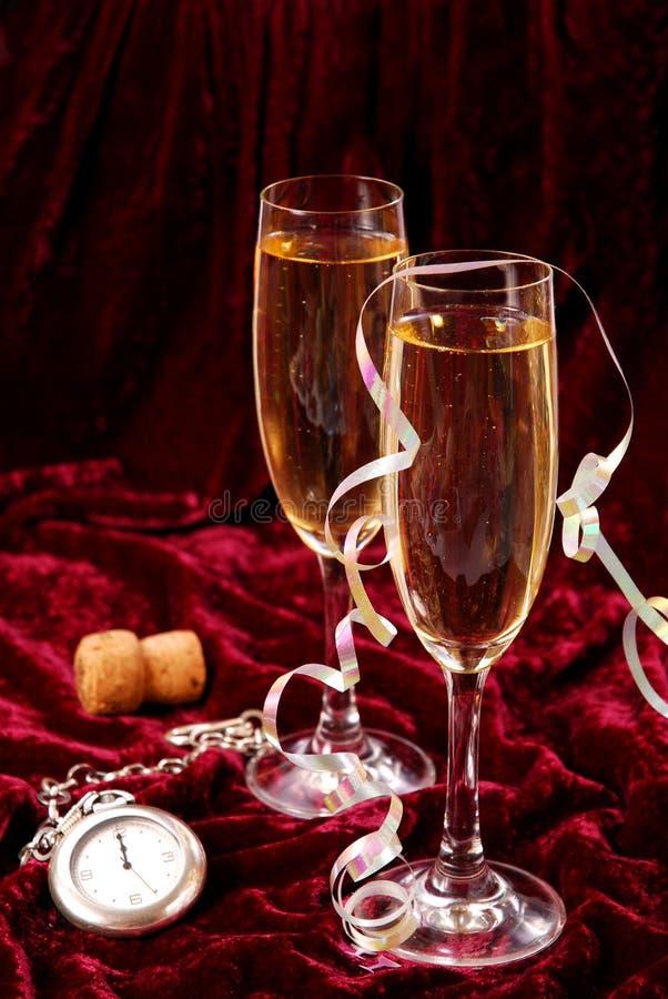 Champagne voor Nieuwjaar stock foto's