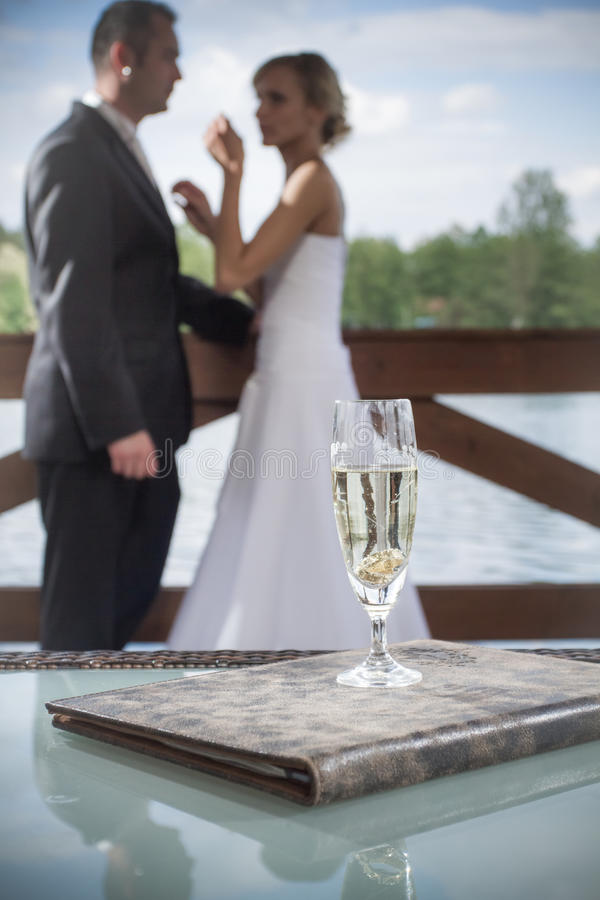 Champagne Wedding Celebration. In water park royalty free stock photo