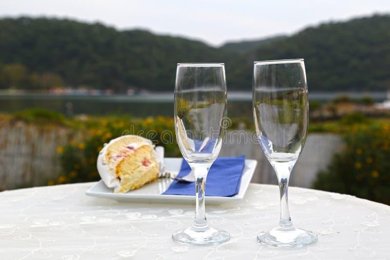 Champagne on wedding stock photos