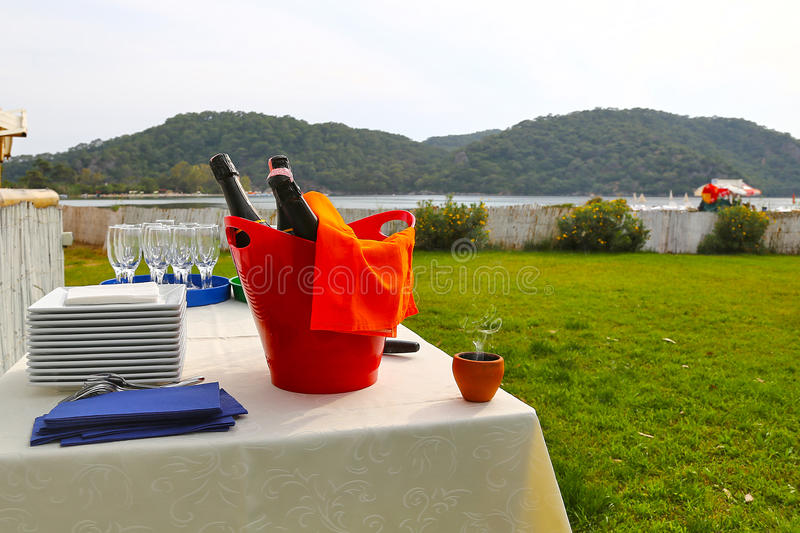 Champagne on wedding stock images