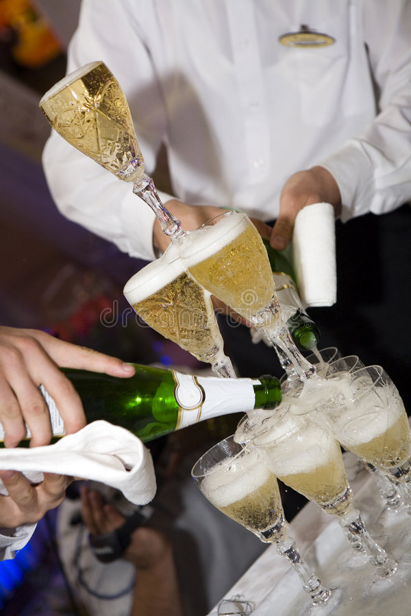 Champagne, wedding, restaurant stock images