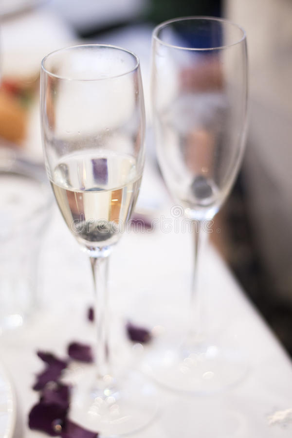 Champagne White Wine Glasses In Wedding Party Stock Image - Image of ...